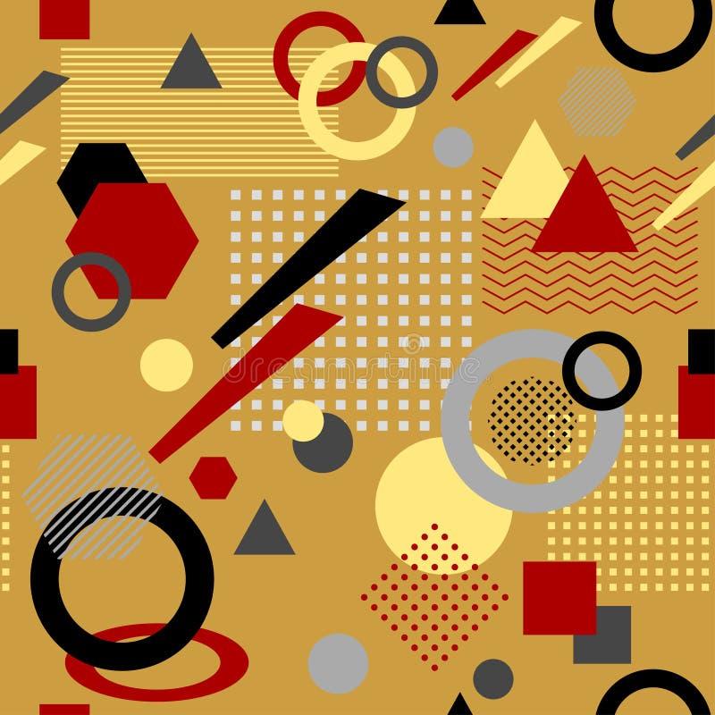 Abstraktes nahtloses Muster in postmodern weißer schwarzer roter Beige Memphis Styles lizenzfreie abbildung