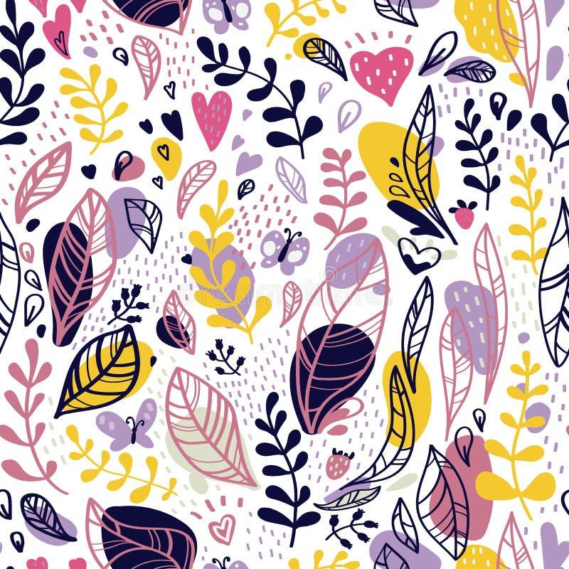 Abstraktes nahtloses Muster von Blättern, von Niederlassungen und von Stellen auf einem weißen Hintergrund lizenzfreie abbildung