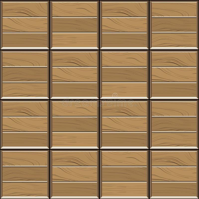 Abstraktes nahtloses Muster von braunen hölzernen Parkettbodenfliesen Geometrische Mosaikbeschaffenheit des Entwurfs für die Deko lizenzfreie abbildung