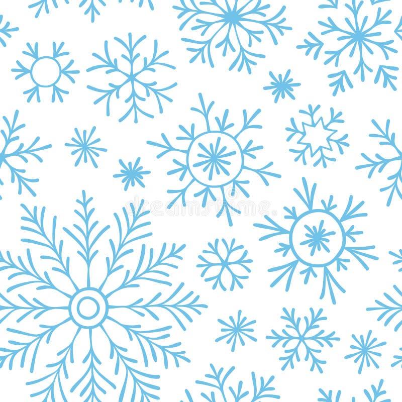 Abstraktes nahtloses Muster von fallenden blauen Schneeflocken auf weißem Hintergrund Wintermuster für Fahne, Gruß, Weihnachten u lizenzfreie abbildung