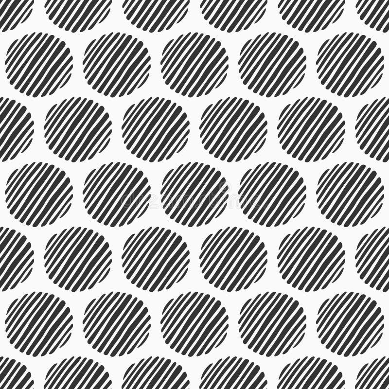Abstraktes nahtloses Muster von Handgezogenen gestreiften Kreisen Strukturiertes Kreismuster Einfarbiger vektorhintergrund lizenzfreie abbildung