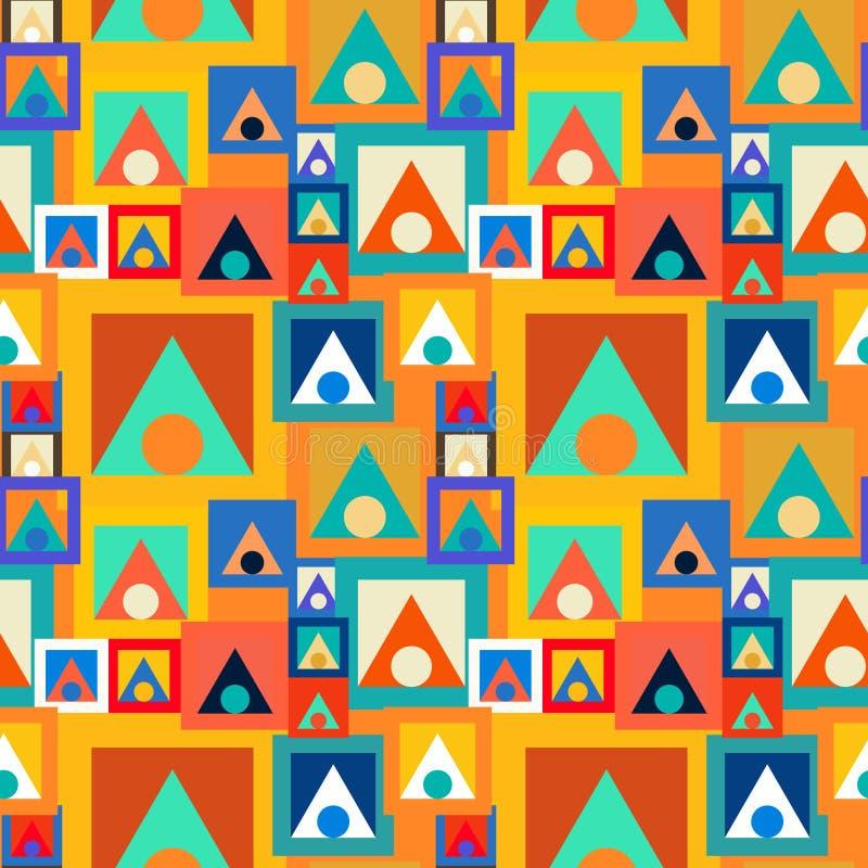 Abstraktes nahtloses Muster von Kreisen, von Quadraten und von Dreiecken Bewegung von geometrischen Formen lizenzfreie abbildung