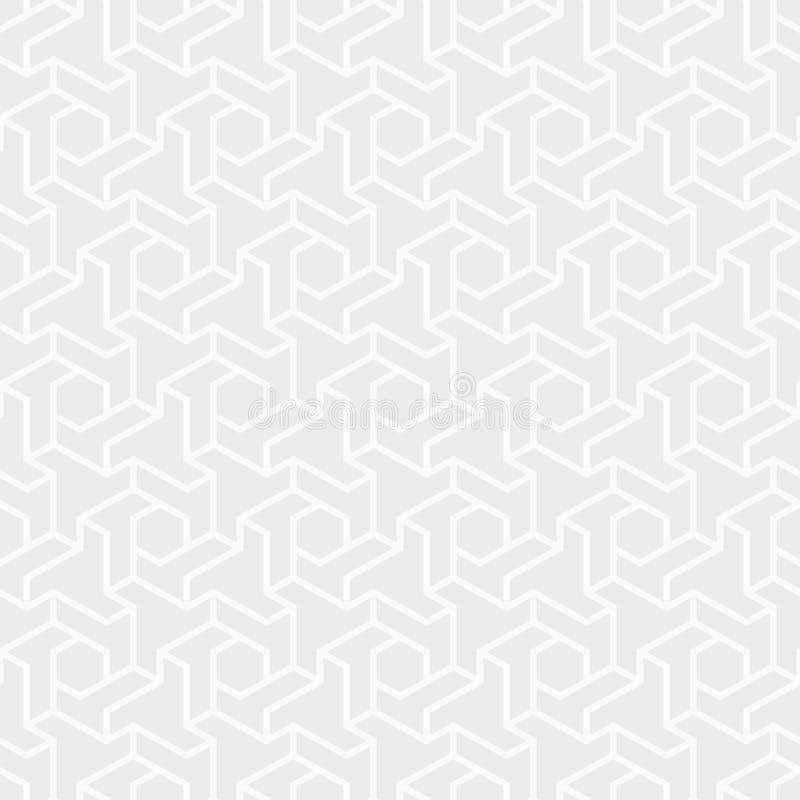 Abstraktes nahtloses Muster Wiederholen des geometrischen sechseckigen Gitters Stilvoller tileable Druck der Chevron-Elementform stock abbildung