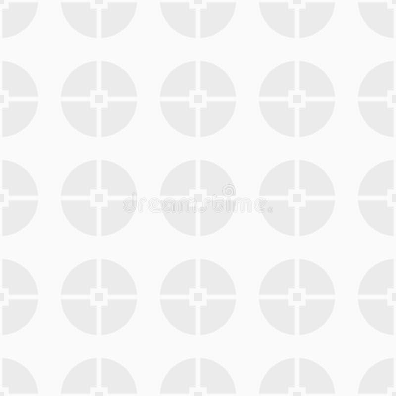 Abstraktes nahtloses patternAbstract nahtloses Muster von den Kreisen unterteilt in vier Teile Weiße und graue geometrische Besch lizenzfreie abbildung