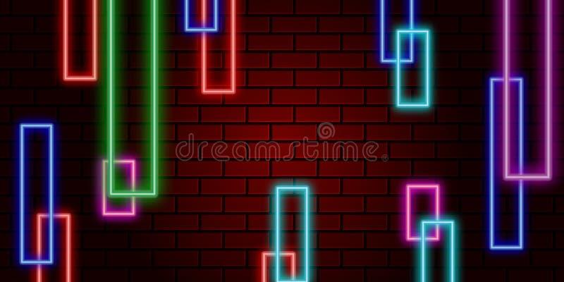 abstraktes Neon Leitungsentzerrerfarbhintergrund stock abbildung