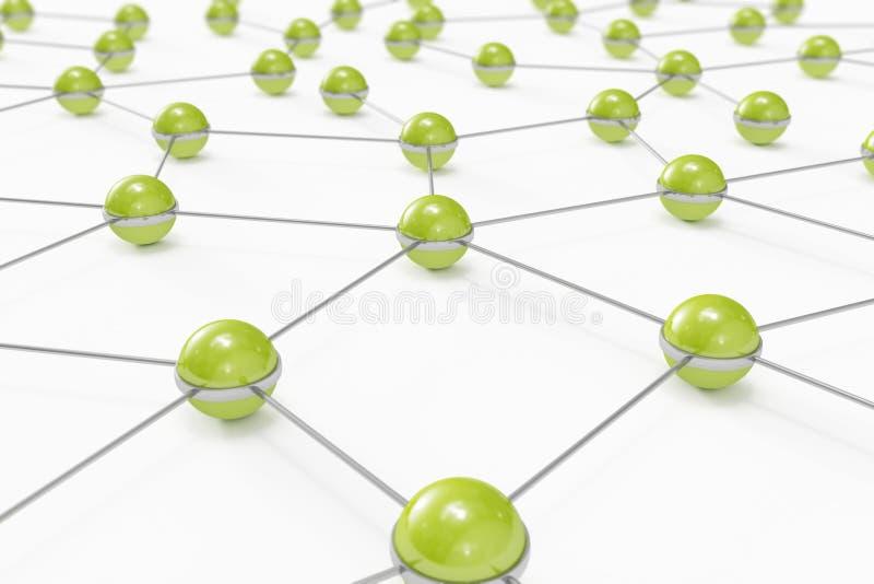 Abstraktes Netz gebildet aus verbundenen grünen Kugeln heraus vektor abbildung