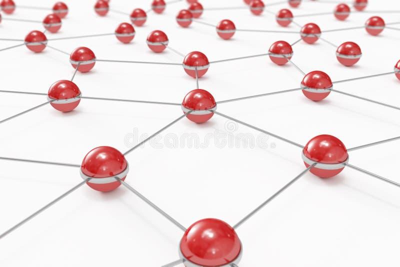 Abstraktes Netz gebildet aus verbundenen roten Kugeln heraus vektor abbildung