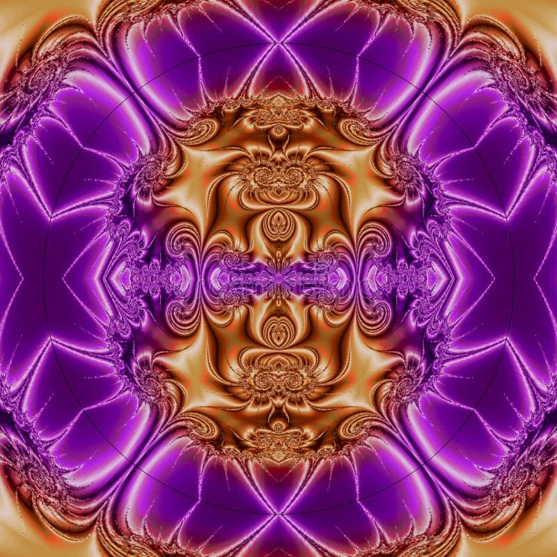 Abstraktes Oberteil mit rauchigen Beschaffenheiten, runden Samenkapseln 3d und Orange schattierte Hintergrund lizenzfreie abbildung