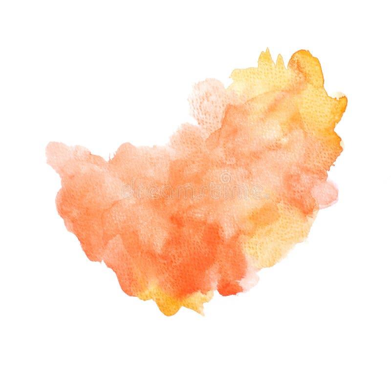 Abstraktes orange Aquarell auf dem weißen Hintergrund, orange Farbe, die auf dem Papier spritzen, um zu entwerfen und den Dekorat lizenzfreie abbildung