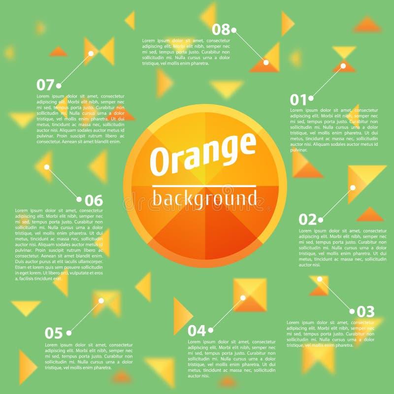 Abstraktes orange Quadrat auf einem grünen Hintergrund stock abbildung