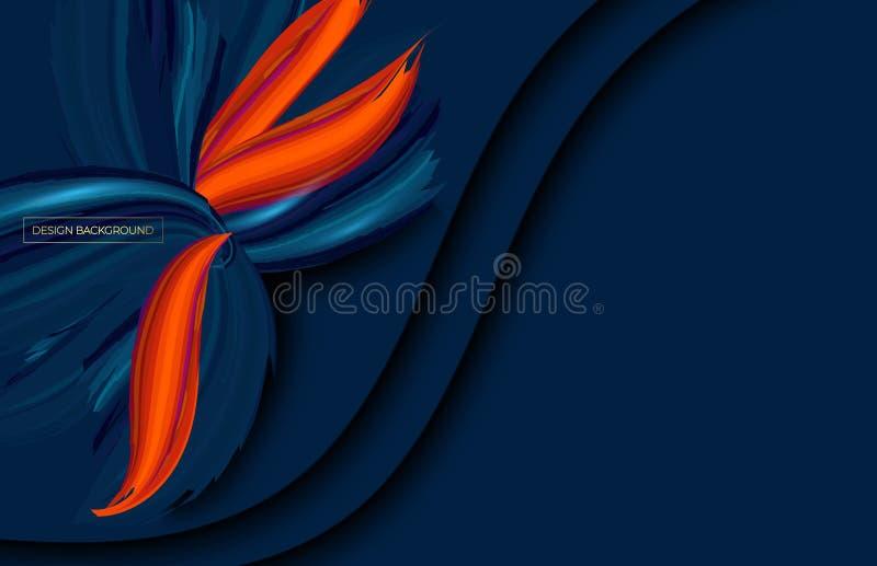 Abstraktes Papier schnitt ?berlagerten blauen Hintergrund mit gewellten Schichten Auch im corel abgehobenen Betrag Abdeckungsplan lizenzfreie abbildung