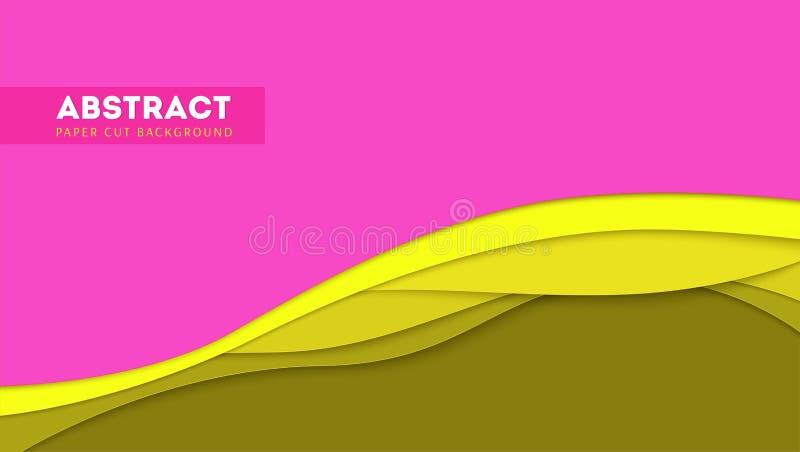 Abstraktes Papierschnittdesign und multi Schichtformen Vector Abdeckungsplan mit herausgeschnittenen Papierformen, gewellte Forme stock abbildung