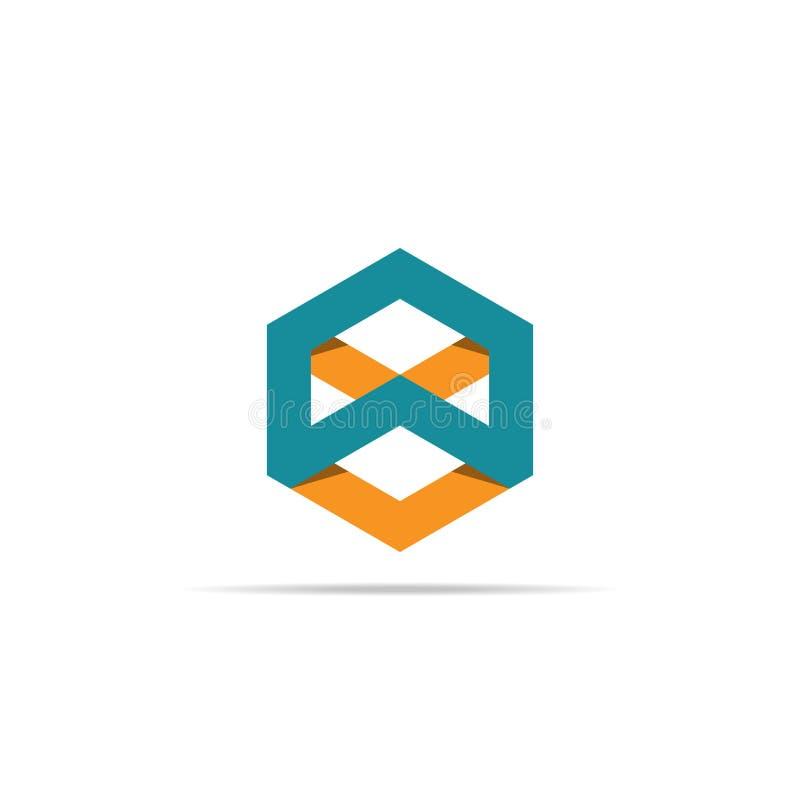 Abstraktes Pfeilkastenelement geometrische sechseckige Gegenstandlogoschablone Würfelformikonen-Symboldesign für Firmenkundengesc vektor abbildung