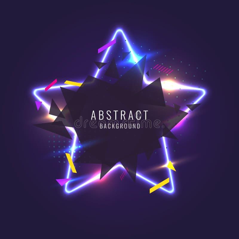 Abstraktes Plakat für die Platzierung des Textes und der Informationen Geometrische Formen und Neonglühen gegen vektor abbildung
