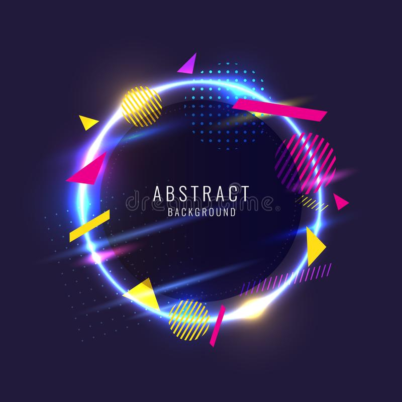 Abstraktes Plakat für die Platzierung des Textes und der Informationen Geometrische Formen und Neonglühen gegen stock abbildung