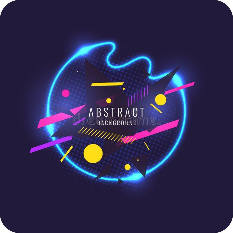 Abstraktes Plakat für die Platzierung des Textes und der Informationen Geometrische Formen und Neonglühen gegen lizenzfreie abbildung