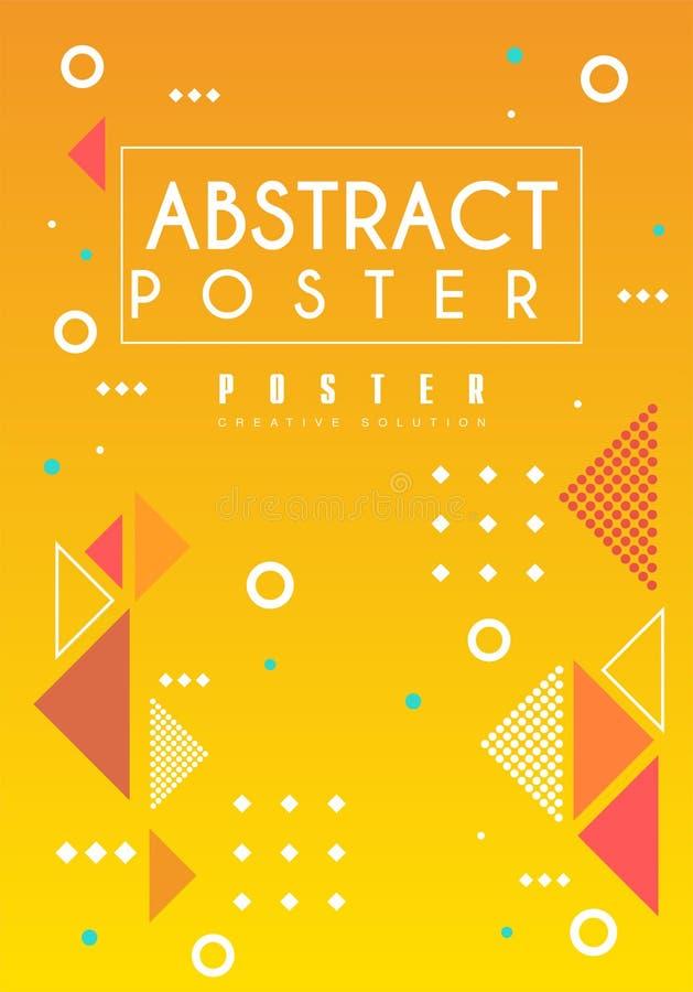 Abstraktes Plakat, helle Plakatschablone in der orange Farbe mit geometrischen Formen, kreatives Grafikdesign für Fahne stock abbildung