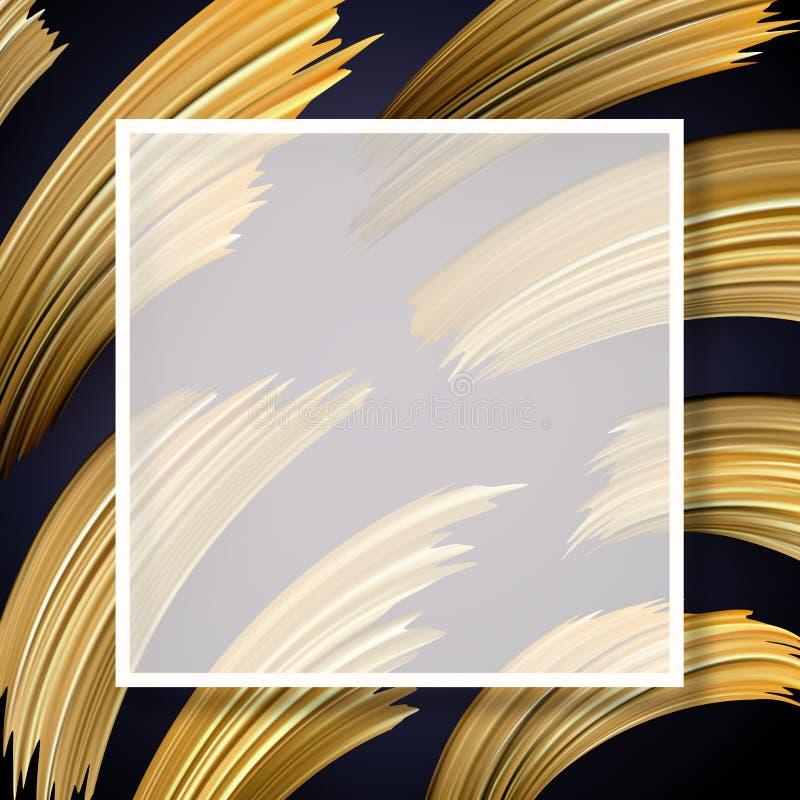 Abstraktes Plakat mit quadratischem Rahmen und goldenen Bürstenanschlägen vektor abbildung