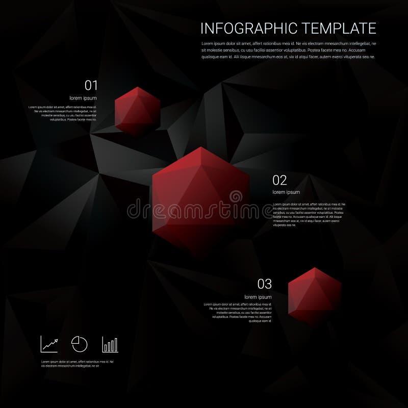 Abstraktes Polygonsymbol des Diamanten 3d auf schwarzem niedrigem Polyvektorhintergrund Geschäft infographics Schablone mit Finan lizenzfreie abbildung