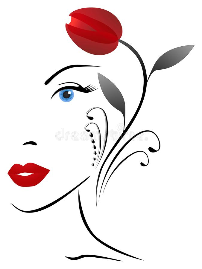 Abstraktes Porträt eines Mädchens mit einer roten Tulpe vektor abbildung