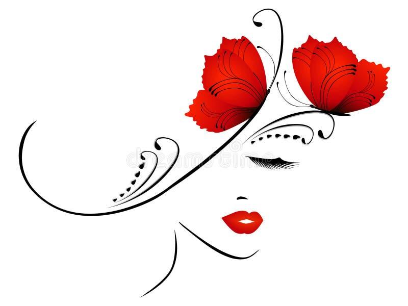 Abstraktes Porträt eines Mädchens mit roten Schmetterlingen vektor abbildung