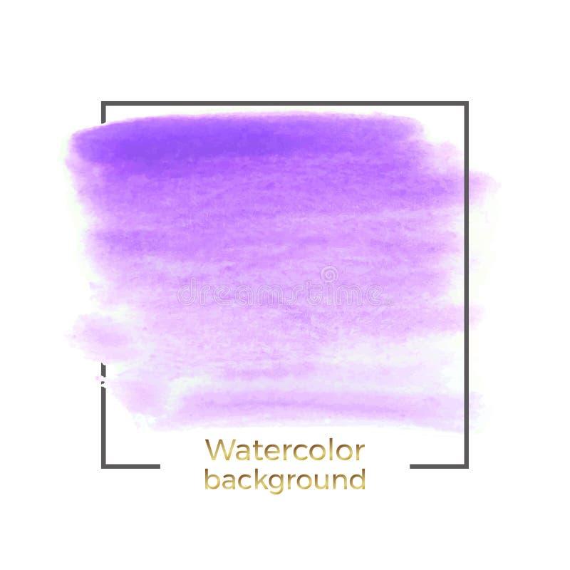 Abstraktes purpurrotes Aquarellspritzen mit quadratischem Rahmen, die Zusammenfassung der flüssigen Tinte, acrylsauer trocknen Bü vektor abbildung