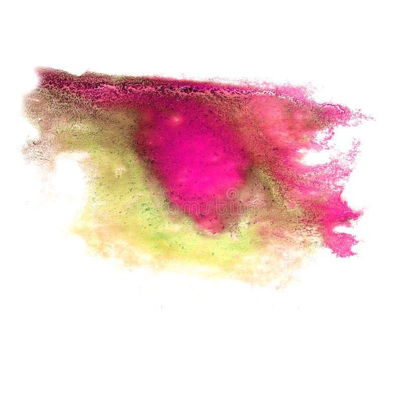 Abstraktes purpurrotes grünes Anschlagtintenaquarellbürsten-Wasserfarbsp lizenzfreies stockfoto