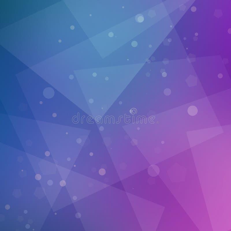 Abstraktes purpurrotes Rosa und blauer Hintergrundentwurf mit geometrischem Muster und weiße bokeh Lichter mit Dreieckformen vektor abbildung