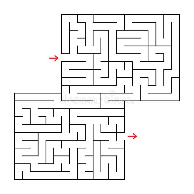 Abstraktes Quadrat lokalisiertes Labyrinth Schwarze Farbe Ein interessantes und nützliches Spiel für Kinder und Erwachsene Einfac vektor abbildung