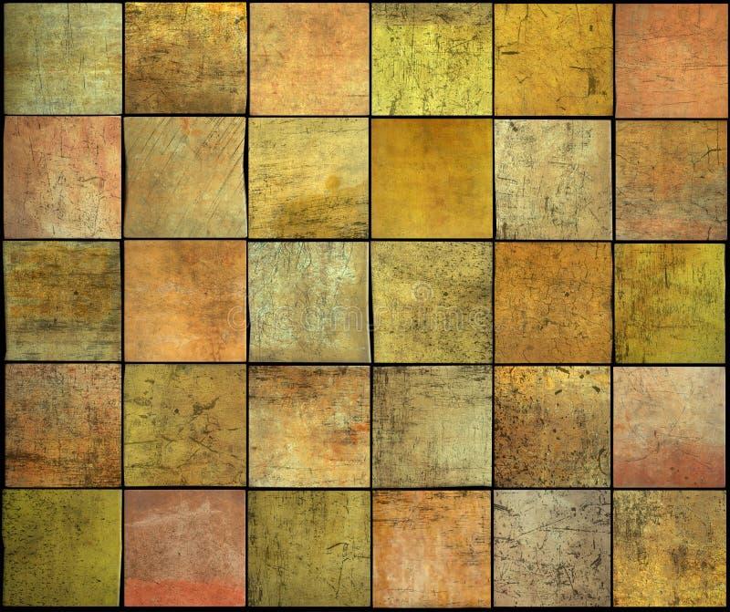 Abstraktes quadratisches Fliesen-Schmutzmuster in der Orange, färben gelb stock abbildung