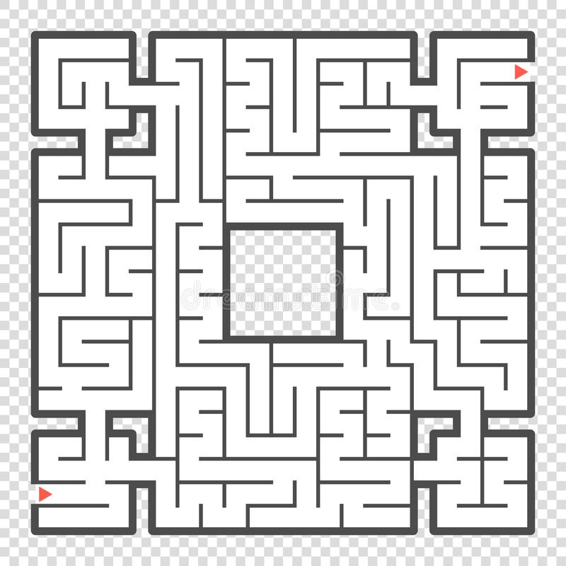 Abstraktes quadratisches Labyrinth Ein interessantes Spiel für Jugendliche und Erwachsene Eine einfache flache Vektorillustration stock abbildung