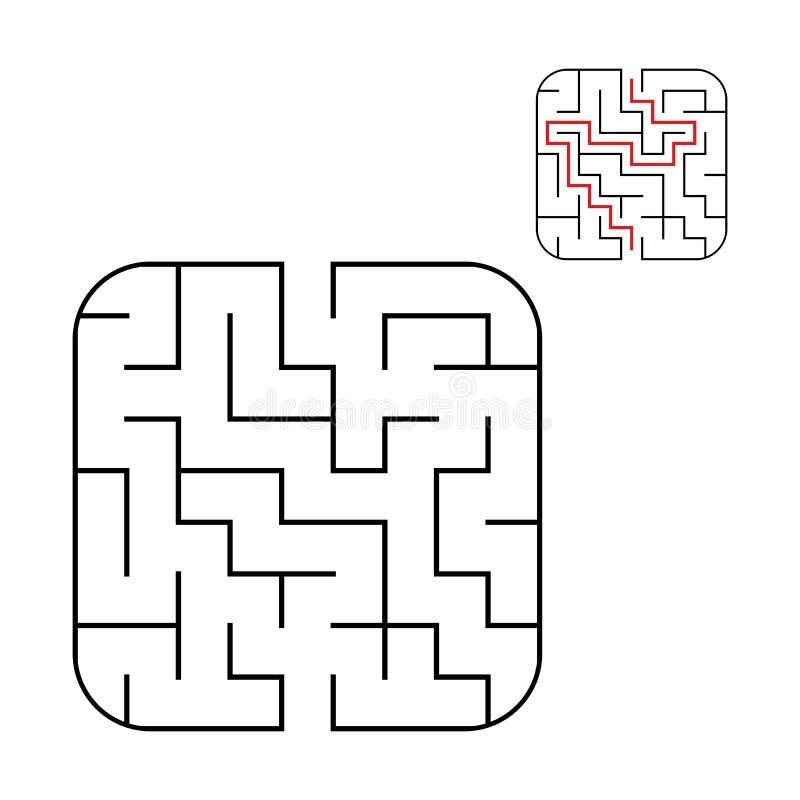 Abstraktes quadratisches Labyrinth Einfaches Niveau der Schwierigkeit Spiel für Kinder Puzzlespiel für Kinder Ein reißt, ein Ausg stock abbildung