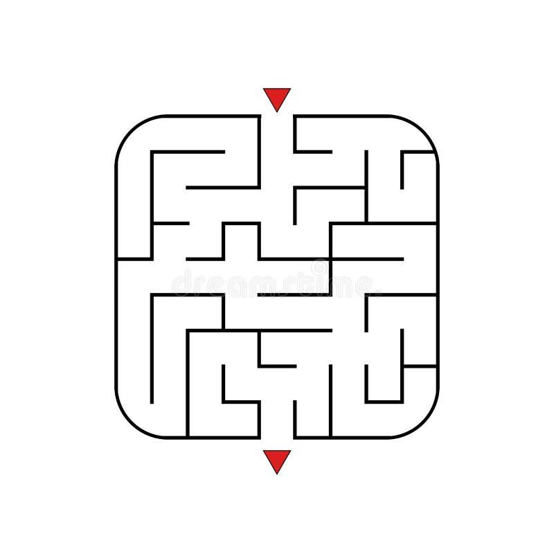 Abstraktes quadratisches Labyrinth Einfaches Niveau der Schwierigkeit Spiel für Kinder Puzzlespiel für Kinder Ein reißt, ein Ausg vektor abbildung