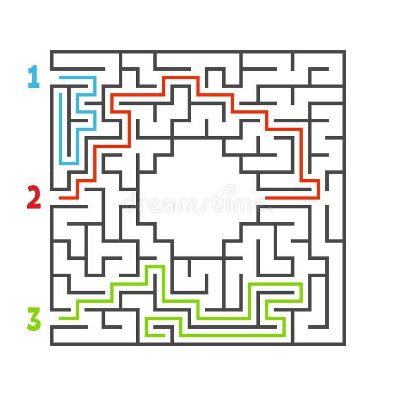 Abstraktes quadratisches Labyrinth Spiel für Kinder Puzzlespiel für Kinder Drei Eingang, ein Ausgang Labyrinthvexierfrage Flache  vektor abbildung
