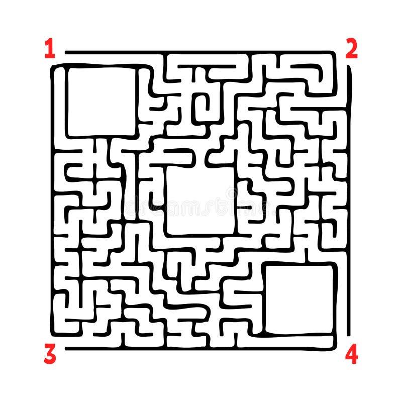 Abstraktes quadratisches Labyrinth Spiel für Kinder Puzzlespiel für Kinder Vier Eingänge, ein Ausgang Labyrinthvexierfrage Flache lizenzfreie abbildung