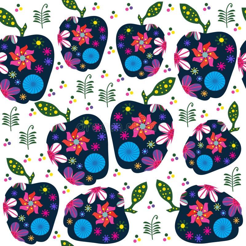 Abstraktes Retro- Fruchtmuster mit Äpfeln, Illustration vektor abbildung