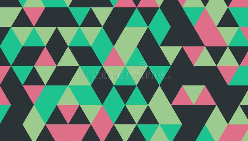 Abstraktes Retro- Muster von geometrischen Formen Dreieckiger Hintergrund des geometrischen Hippies, Vektor stock abbildung
