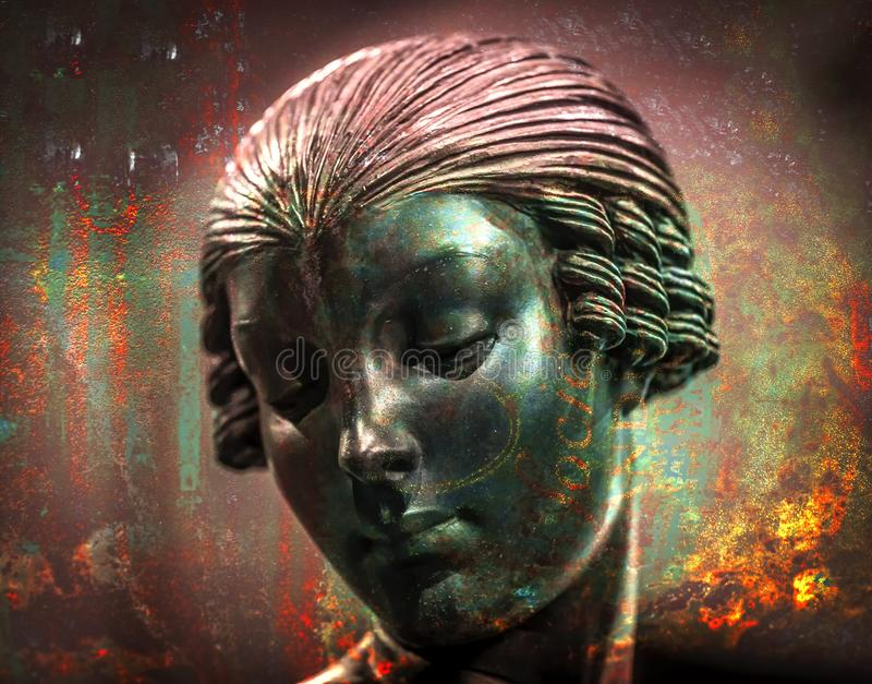 Abstraktes RETRO- Statuen-Doppelbelichtungs-Metallfeuer lizenzfreie abbildung