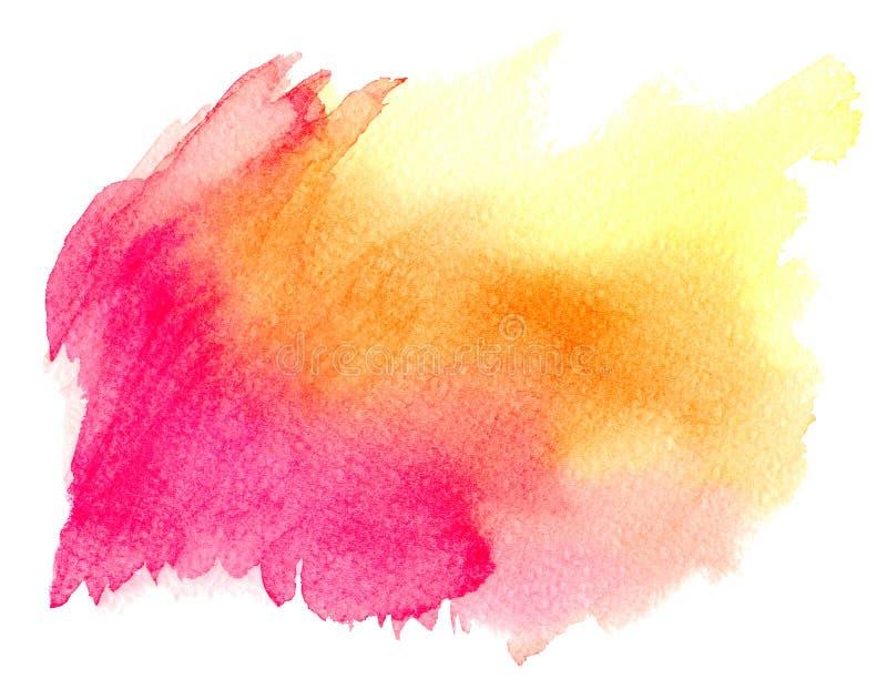 Abstraktes rosarotes gelbes Aquarell auf weißem Hintergrund Die Farbe, die auf dem Papier spritzt Es ist eine gezeichnete Hand vektor abbildung