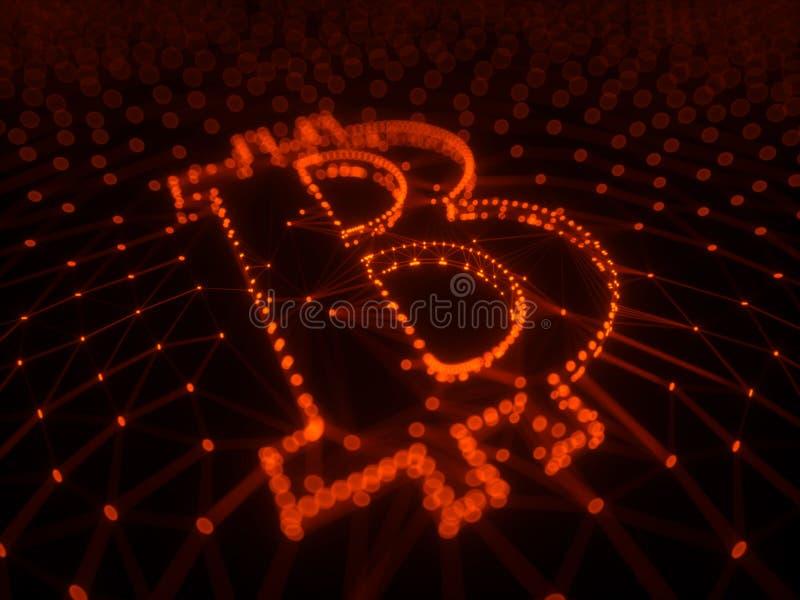 Abstraktes rotes Bitcoin-Zeichen errichtet als Reihe Geschäfte in Begriffs-Illustration 3d Blockchain stockbilder