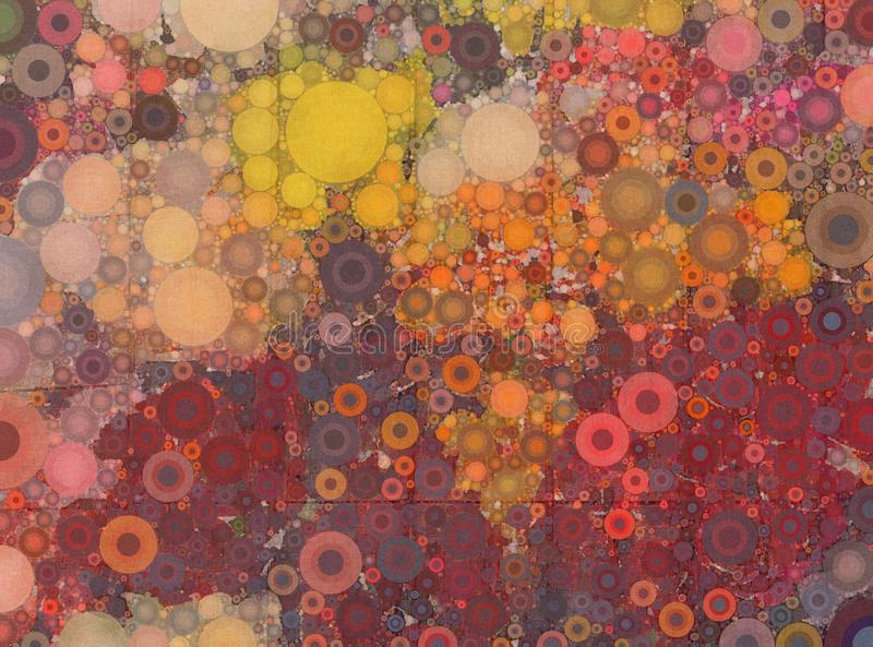 Abstraktes rotes gelbes und orange Mosaik beschmutzte Hintergrund lizenzfreie abbildung