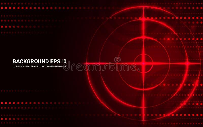 Abstraktes rotes Ziel, Schießstand auf schwarzem Hintergrund vektor abbildung