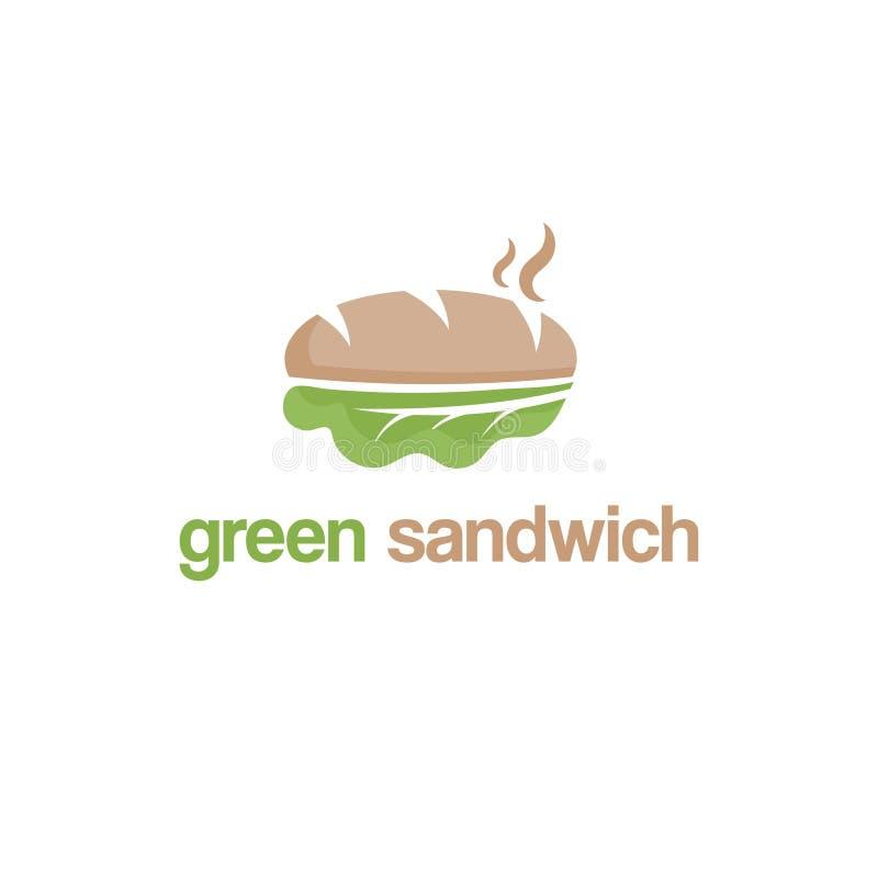 Abstraktes Schablonenlogodesign mit grünem Sandwich lizenzfreie abbildung