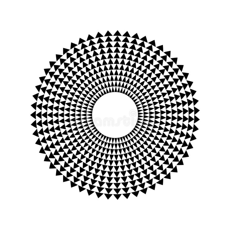 Abstraktes Schallwellekreisvektor-Ikonensymbol der Dreieckentzerrermusik Logoentwurf, runde Linie Ikone, Kreiseinzelteil, Element vektor abbildung