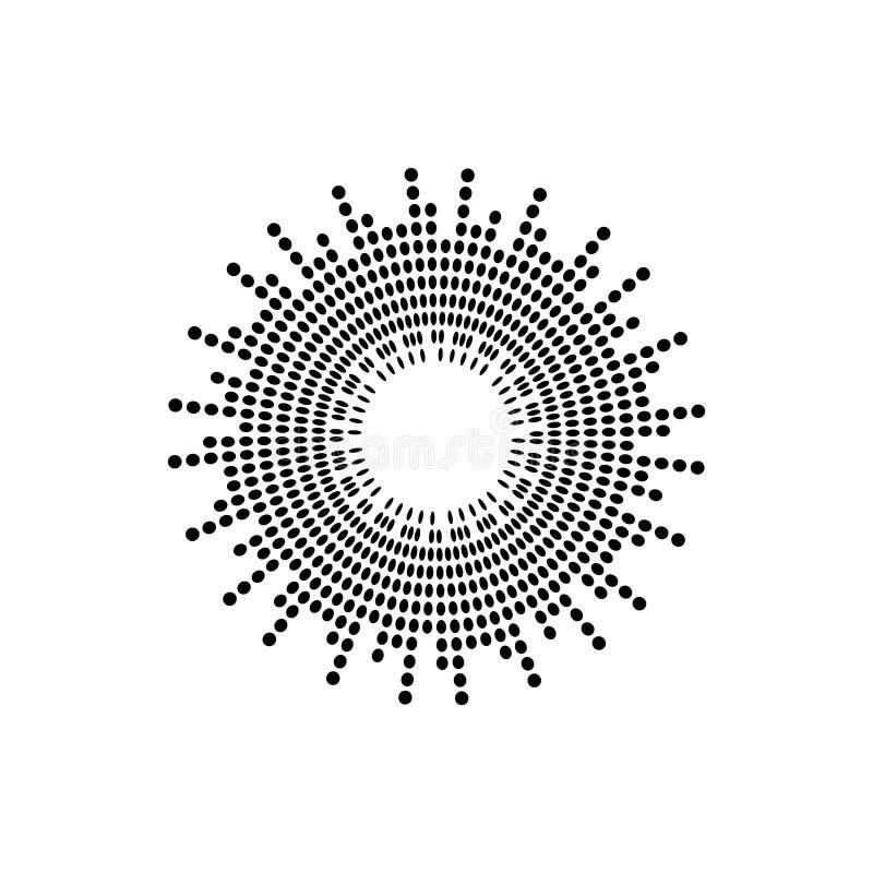 Abstraktes Schallwellekreisvektor-Ikonensymbol der Entzerrermusik Logoentwurf, runde Linie Ikone, Kreiseinzelteil, Elementhinterg lizenzfreie abbildung