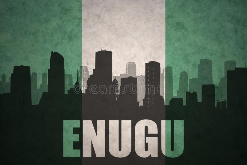 Abstraktes Schattenbild der Stadt mit Text Enugu an der Weinlese Nigerianflagge lizenzfreie stockfotos