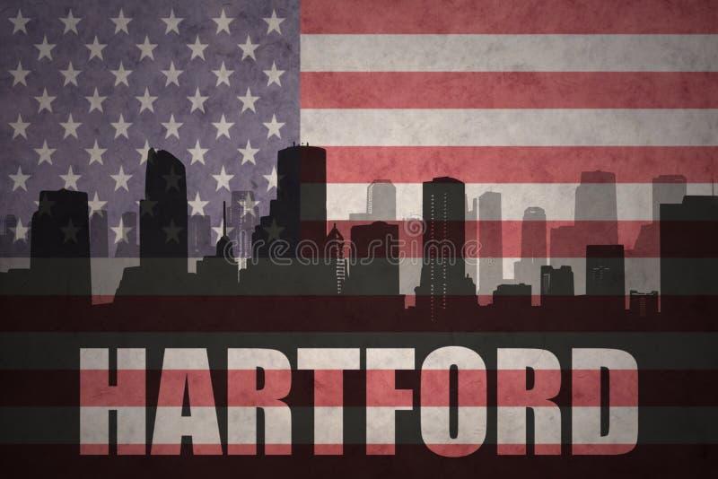 Abstraktes Schattenbild der Stadt mit Text Hartford an der Weinleseamerikanischen flagge stockbild
