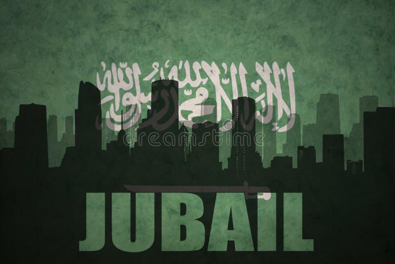 Abstraktes Schattenbild der Stadt mit Text Jubail an der Weinlesesaudi-arabien Flagge lizenzfreies stockbild