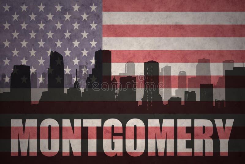 Abstraktes Schattenbild der Stadt mit Text Montgomery an der Weinleseamerikanischen flagge vektor abbildung