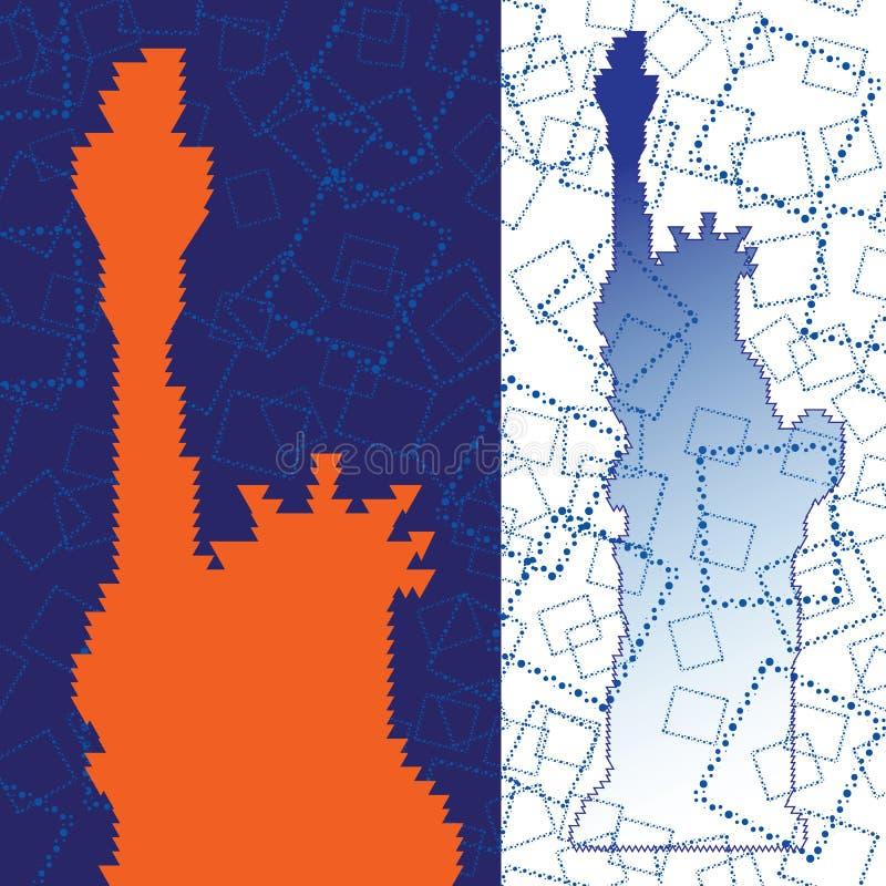 Abstraktes Schattenbild der Statue von Liberty Triangulated mit Blau quadriert Hintergrund lizenzfreie abbildung